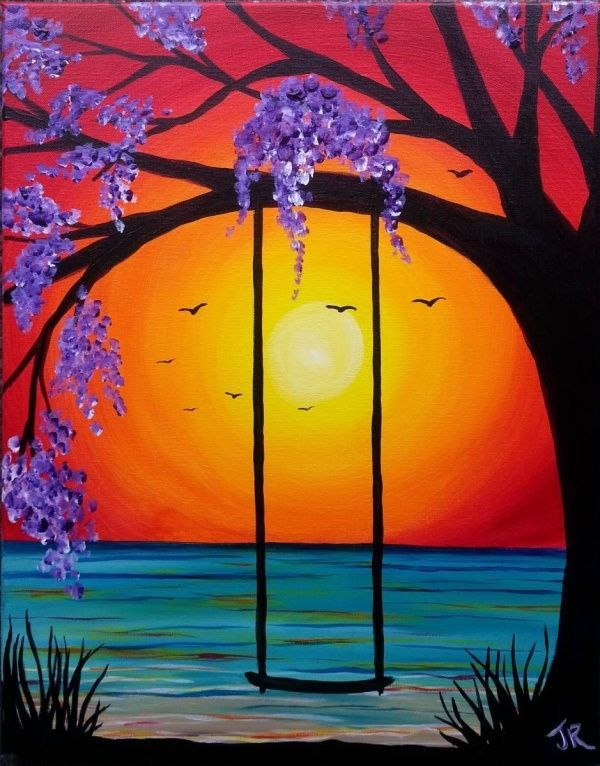 80 Easy Acrylic Canvas Painting Ideas For Beginners To Start Practicing Acrylic Beginn In 2020 Poster Color Painting Simple Canvas Paintings Canvas Painting Landscape