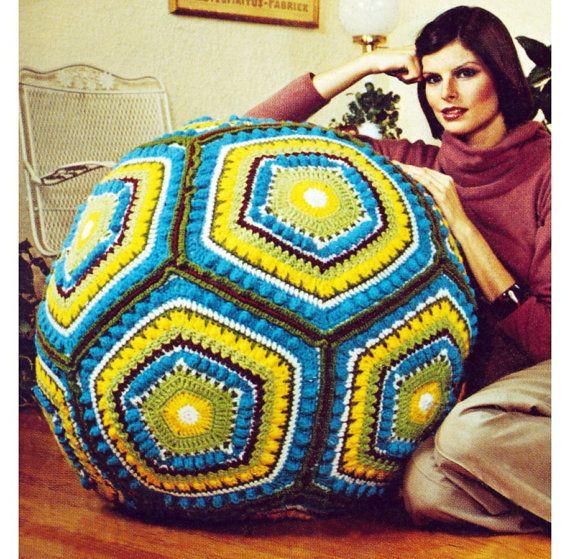 Vintage Crochet Pattern Giant Granny Square Pillow Ball