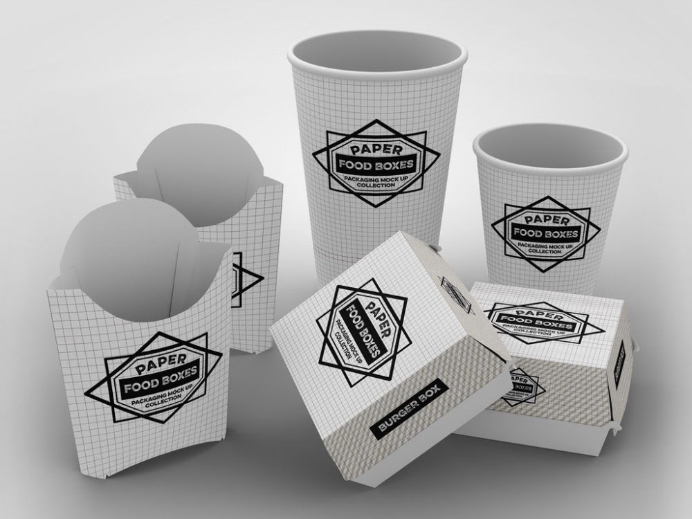 Download This set includes cups, fries boxes and burger boxes ...