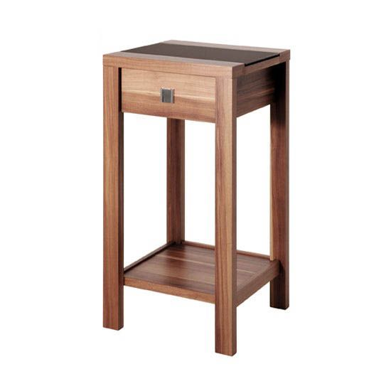 Sirius Black Glass Top End Table In Walnut With 1 Drawer   Modern Telephone  Tables,