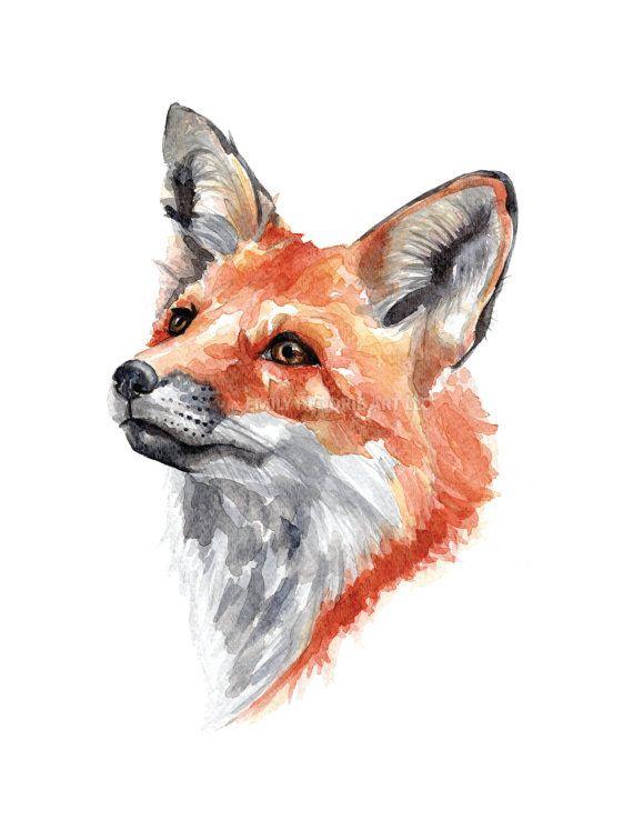 Fox Watercolor Print / Watercolor Fox Art Print / Fox Face