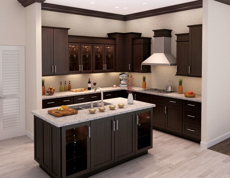 L Shaped Dark Brown Wooden Kitchen Cabinet And Rectangle Island With Grey  Marble Countertop On Laminate Flooring As Well As Also