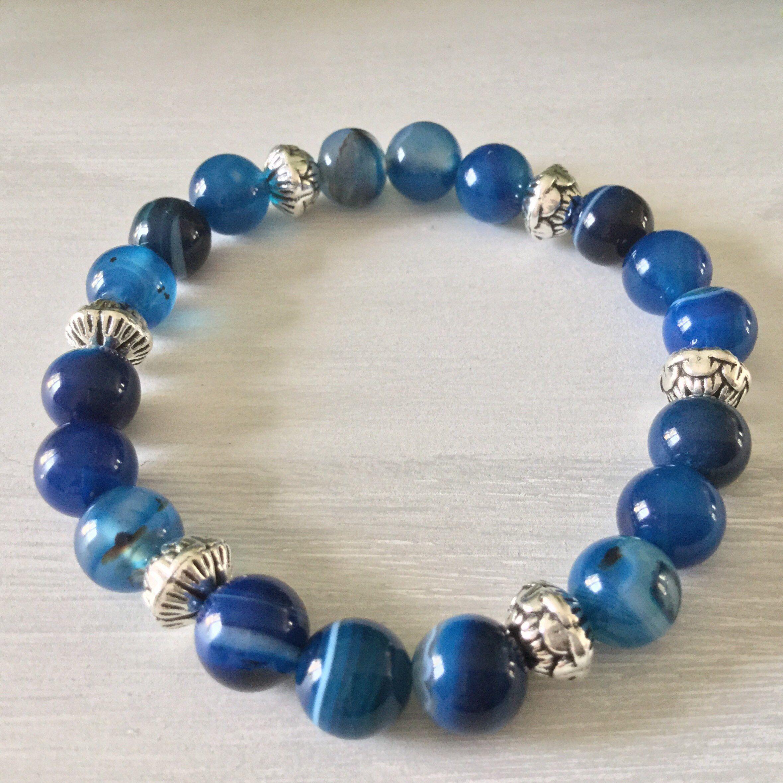 "Naturel 8 mm Round Saphir Bleu Perles De Pierres Précieuses Colliers 18/"""