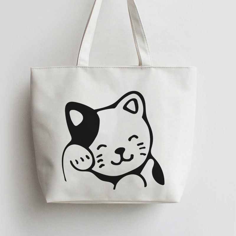 4419b13cad Find More Shopping Bags Information about Lucky Cat Japanese Anime Canvas  Tote bags Cartoon Shopping bag school Shoulder Reusable Shopper Grocery Bag  GA1282 ...