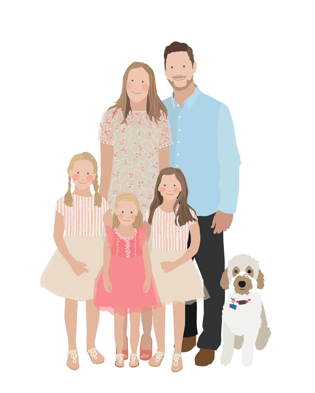 Custom family portrait illustration with the family dog