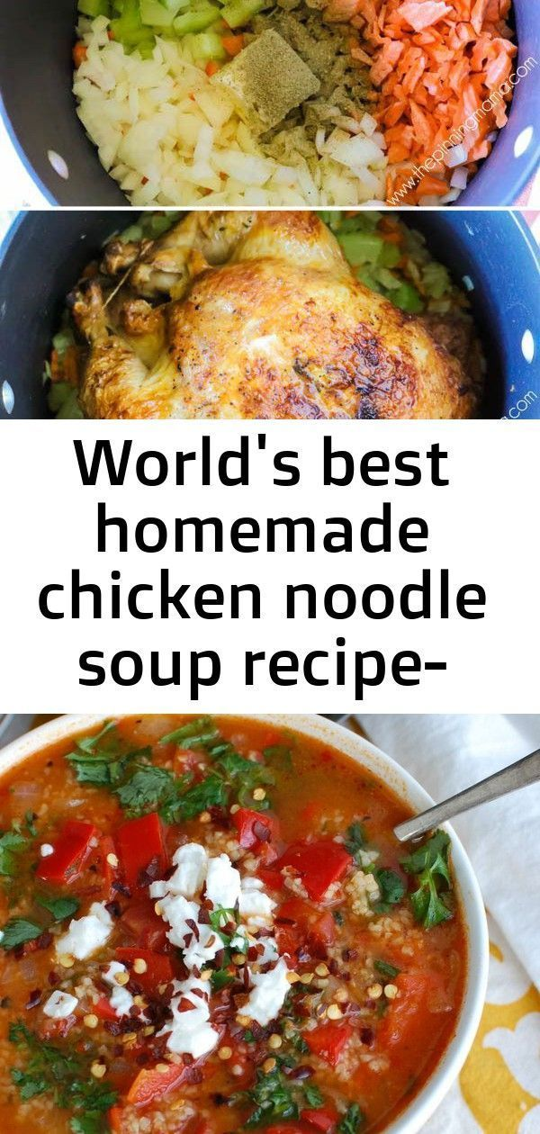 World's best homemade chicken noodle soup recipe- using a rotisserie is genius! it makes this so q 1 #chickpeanoodlesoup World's Best Homemade Chicken Noodle Soup Recipe- Using a rotisserie is GENIUS! It makes this so quick and flavor packed! Tomato Red Pepper Bulgur Soup is a vegan soup that boasts smoky and sweet flavors. This soup is hearty, healthy and will make your taste buds happy. You can easily bulk this soup up with chickpeas, white beans or grilled chicken. Easy vegetable soup with gr #chickpeanoodlesoup