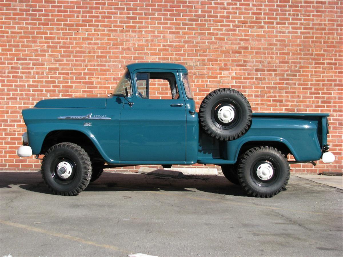 4x4 chevy apache 1958 chevrolet apache half ton pickup 4x4 70954 side profile jpg