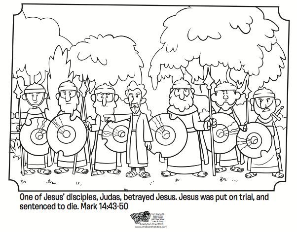 Kids Coloring Page From Whats In The Bible Showing Judas Betraying Jesus Mark 1443 50 Volume 10 Is Good News