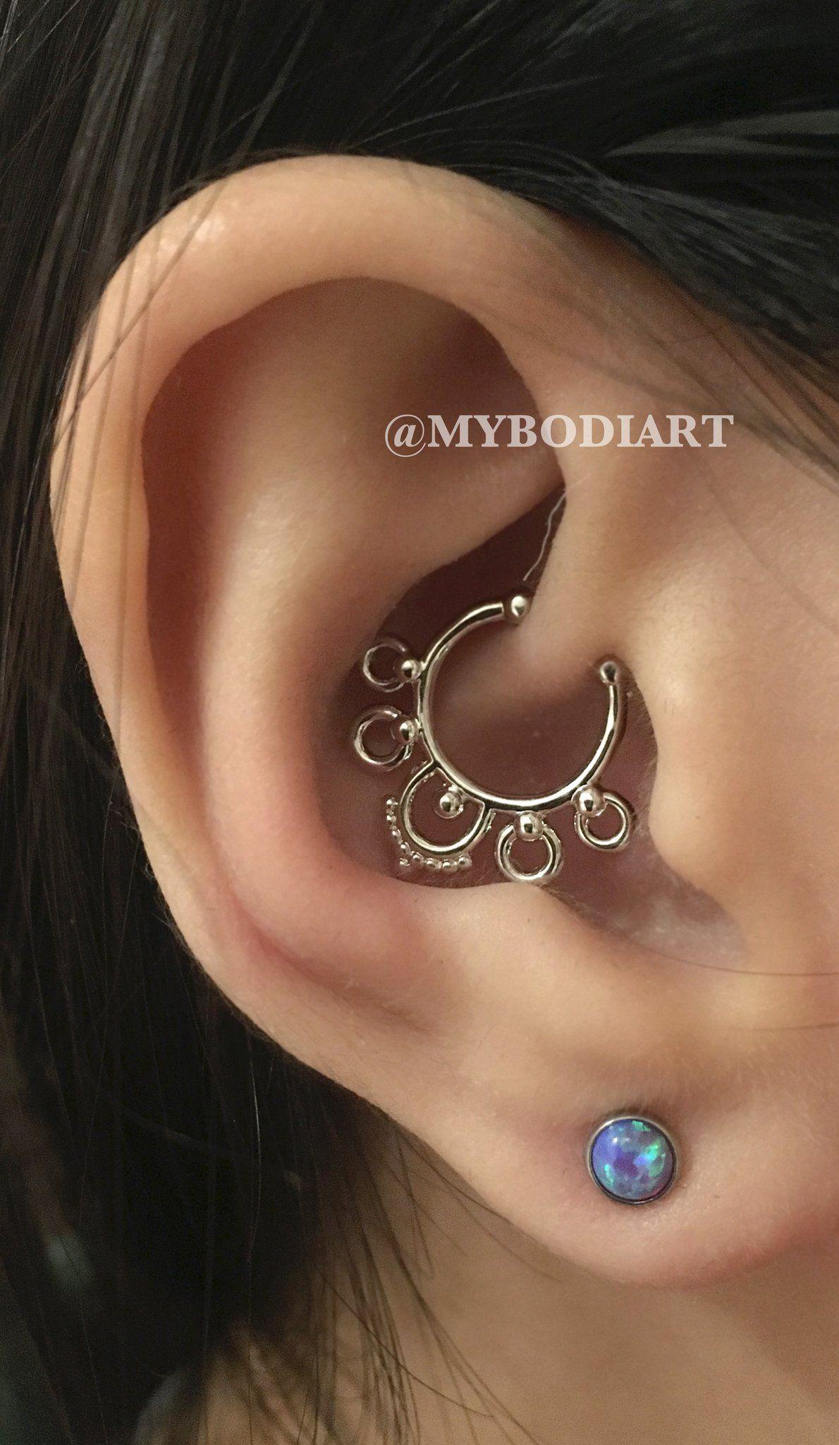 Pretty piercing ideas  Pretty Ear Piercing Ideas for Teens  Gold Cartilage Jewelry Daith