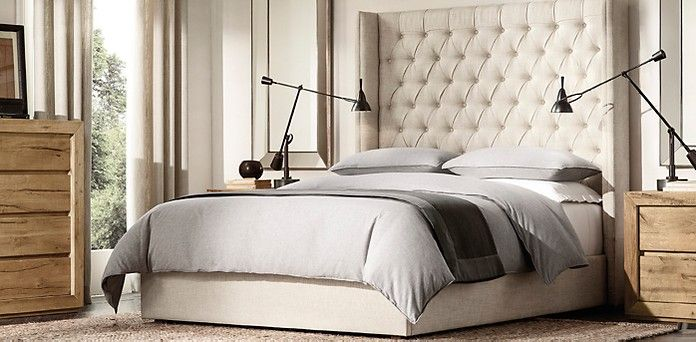 Bedroom Sets Restoration Hardware available in 140 fabric colors - adler tufted platform bed | rh