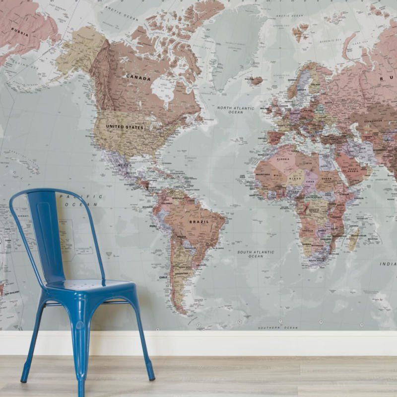 Physical World Map Mural Wallpaper Wall Murals Squares And Walls - World map wallpaper for walls india