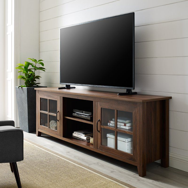 70 Inch Farmhouse Wood Tv Stand Dark Walnut Tv Stand With
