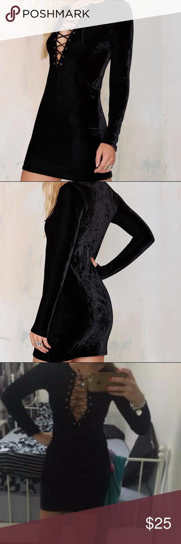 Brittany velvet dress long sleeve black velvet lace up dress so