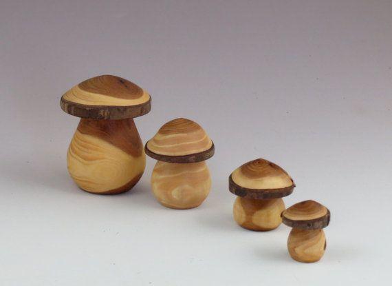 Wooden Hand Turned Mushroom, Fairy Garden Mushroom, Waldorf Style