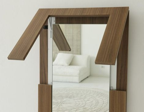 Folding Table Disguised As A Wall Mirror. Porada Created A Beautiful And  Functional Design