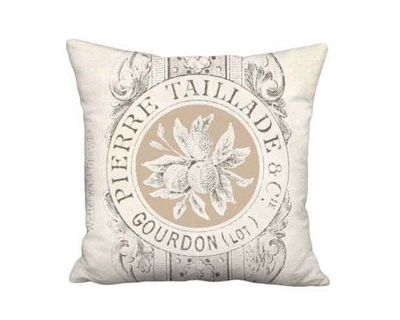 Taillade Grain Sack Style Pillow Cover - French Country Burlap Pillow - 16x 18x 20x 22x 24x 26x 28x 30x 32x Inch Linen Cotton Cushion Cover