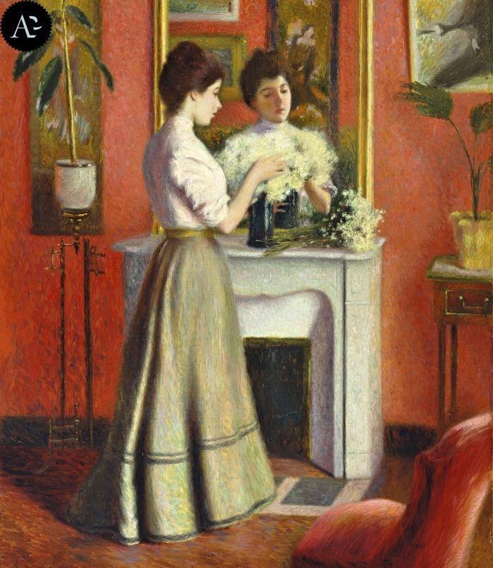 Federico Zandomeneghi (1841-1917, Italy; impressionism) | Femme au Miroir, 1898 (private collection)