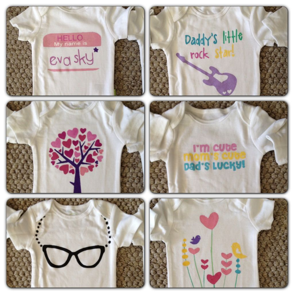 Diy baby onesies with circut and freezer paper baby
