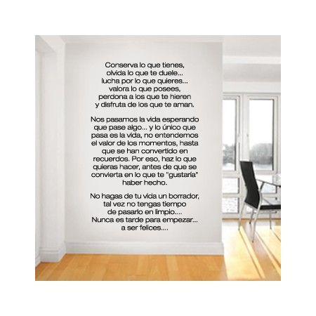 Pegatinas de vinilo para paredes con texto personalizado - Vinilos con textos ...