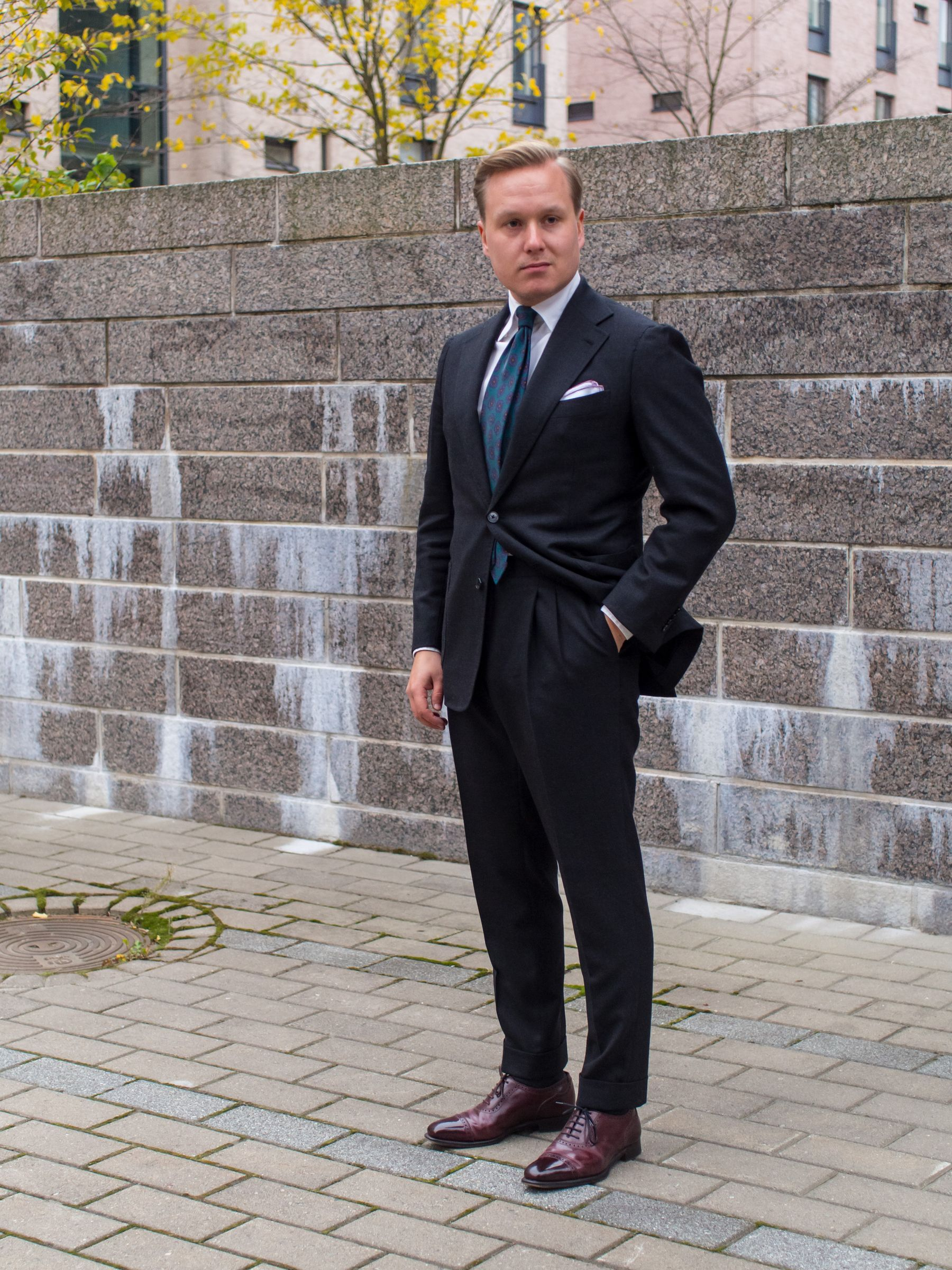 1d4fe06f8e66c Image result for charcoal suit with brown wingtips | For my guys ...
