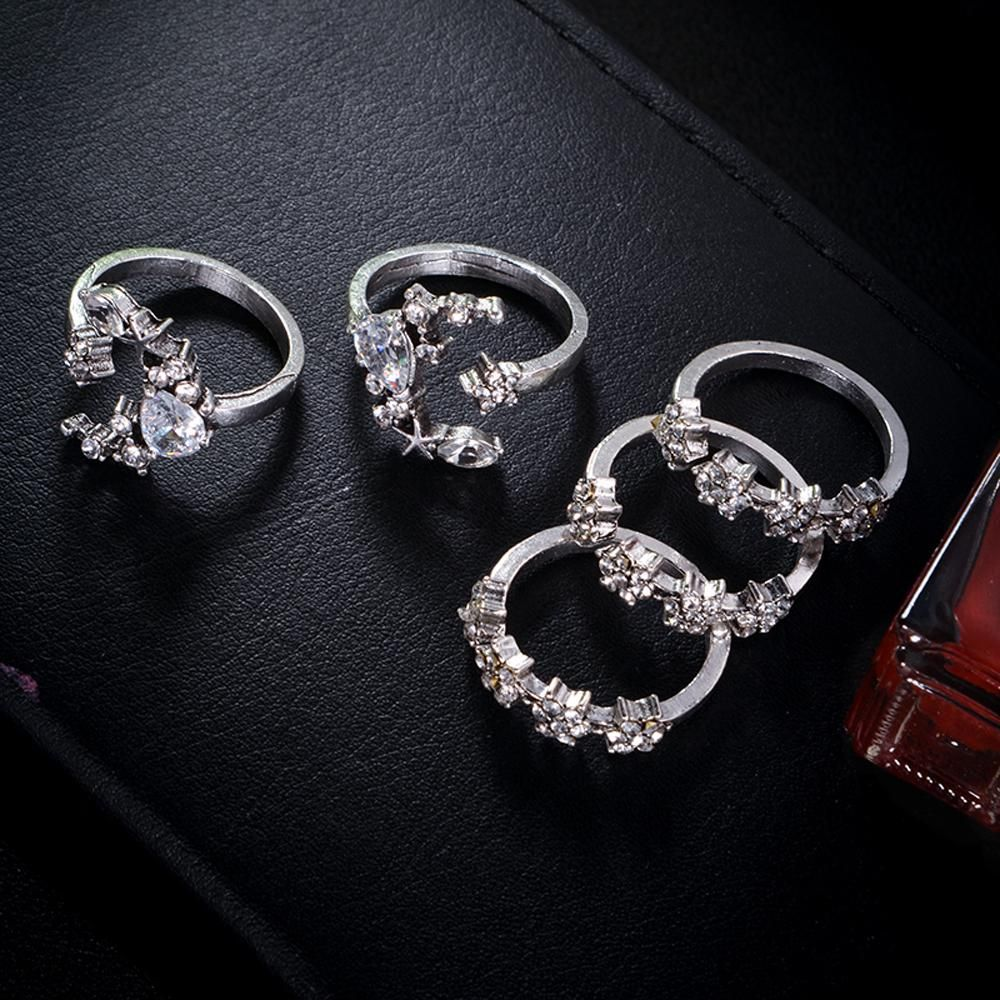 Rose Gold Stacking Midi Ring 5pcs Sparkly Rings Sets Jewelry Crystal