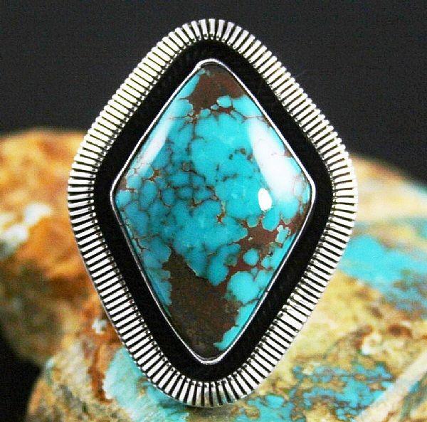 Ned Nez Rare Gem Grade Aztec Spiderweb Turquoise Ring