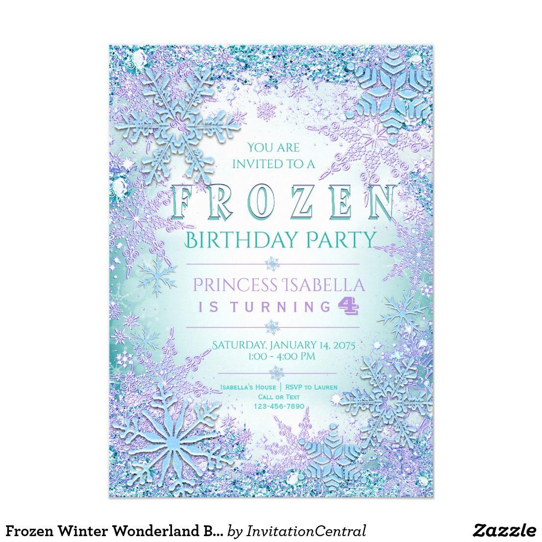 Frozen Winter Wonderland Birthday Party Invitation   Frozen Birthday ...