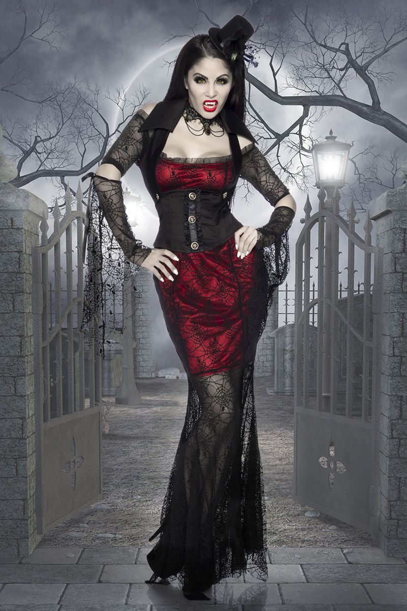 Ladies Plus Size Blood Witch Halloween Vamp Fancy Dress Costume Outfit UK 16-30