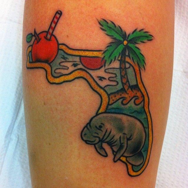 🌴🍊☀️✌️#florida #floridatattoo #tattoo #traditionaltattoo #palmtree #manatee #seacow #tampa #yborcity #OJ #funtattoo