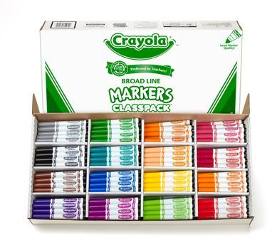 Broad Line Markers Classpack 256 Count 16 Colors Markers Bulk