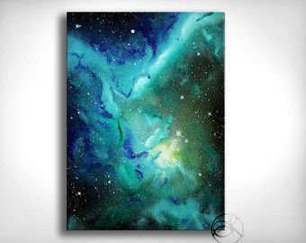 Blue Galaxy Painting Wall Art Space Art Spray by