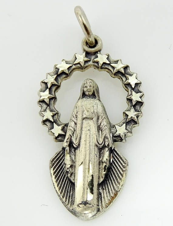 Creed Sterling Silver Mary Miraculous Medal Necklace Pendant