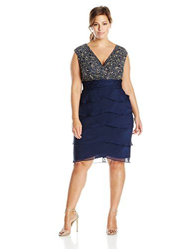 London Times Womens Plus Size Metallic Rose Lace With Shutter Dress