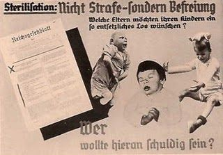 German 1930s poster reads:  Who would want to be responsible for these three handicapped children?