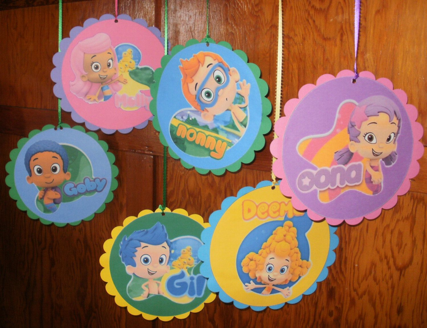 6 Bubble Guppies Hanging Decorations ( Double Sided )