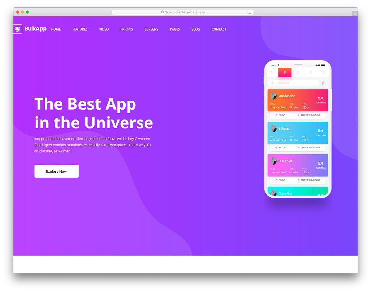 50 Free App Landing Page Website Templates 2021 Website Template App Mobile App