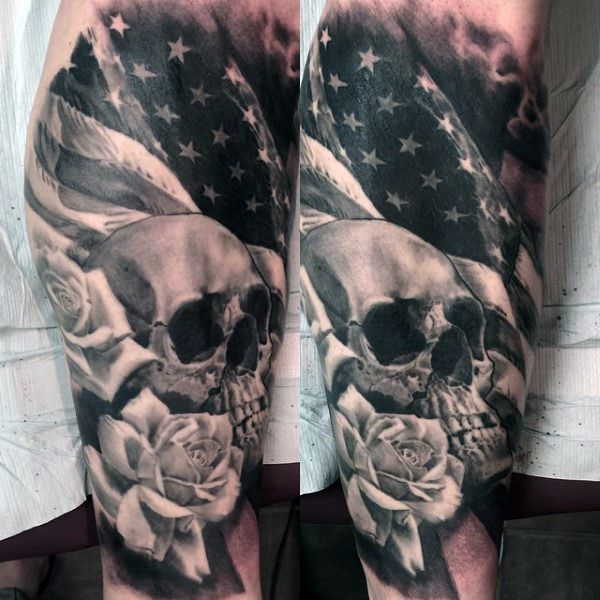 Skull Male American Flag Tattoos Military | Tattoos ...