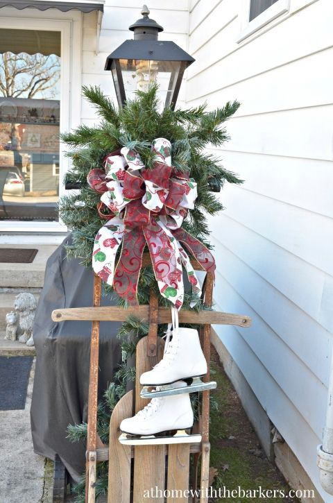 Victorian Christmas Lamp post sled and skates decor