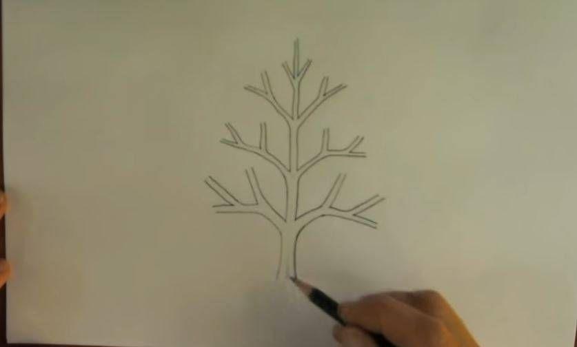 paso 2 para dibujar paisajes con arboles