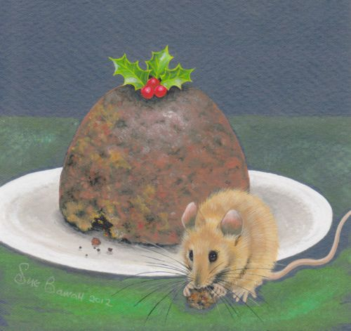 """""""Christmas Mouse"""" LIMITED EDITION SIGNED Fine Art Canvas PRINT by Sue Barratt"""