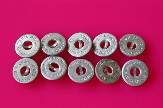 French vintage military buttons - lot of 10 buttons marked
