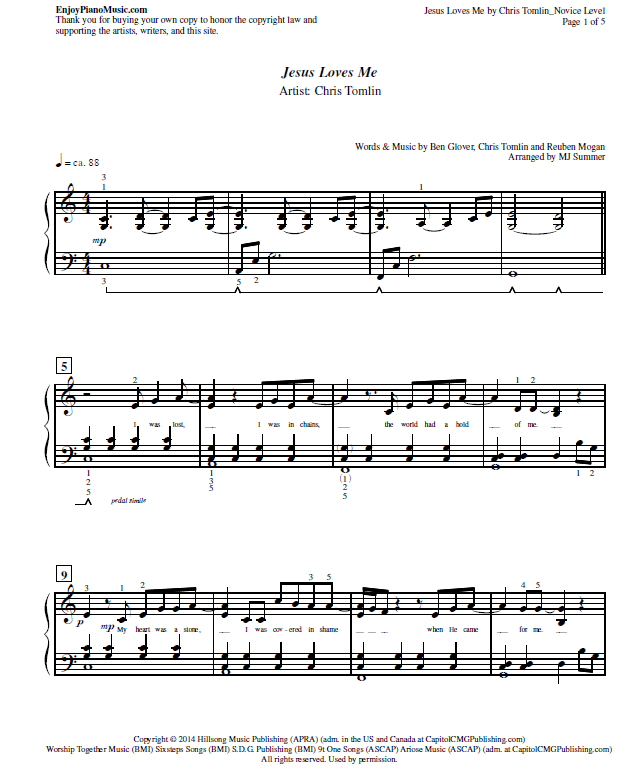Jesus Loves Me by Chris Tomlin Sheet Music for Piano at Novice ...