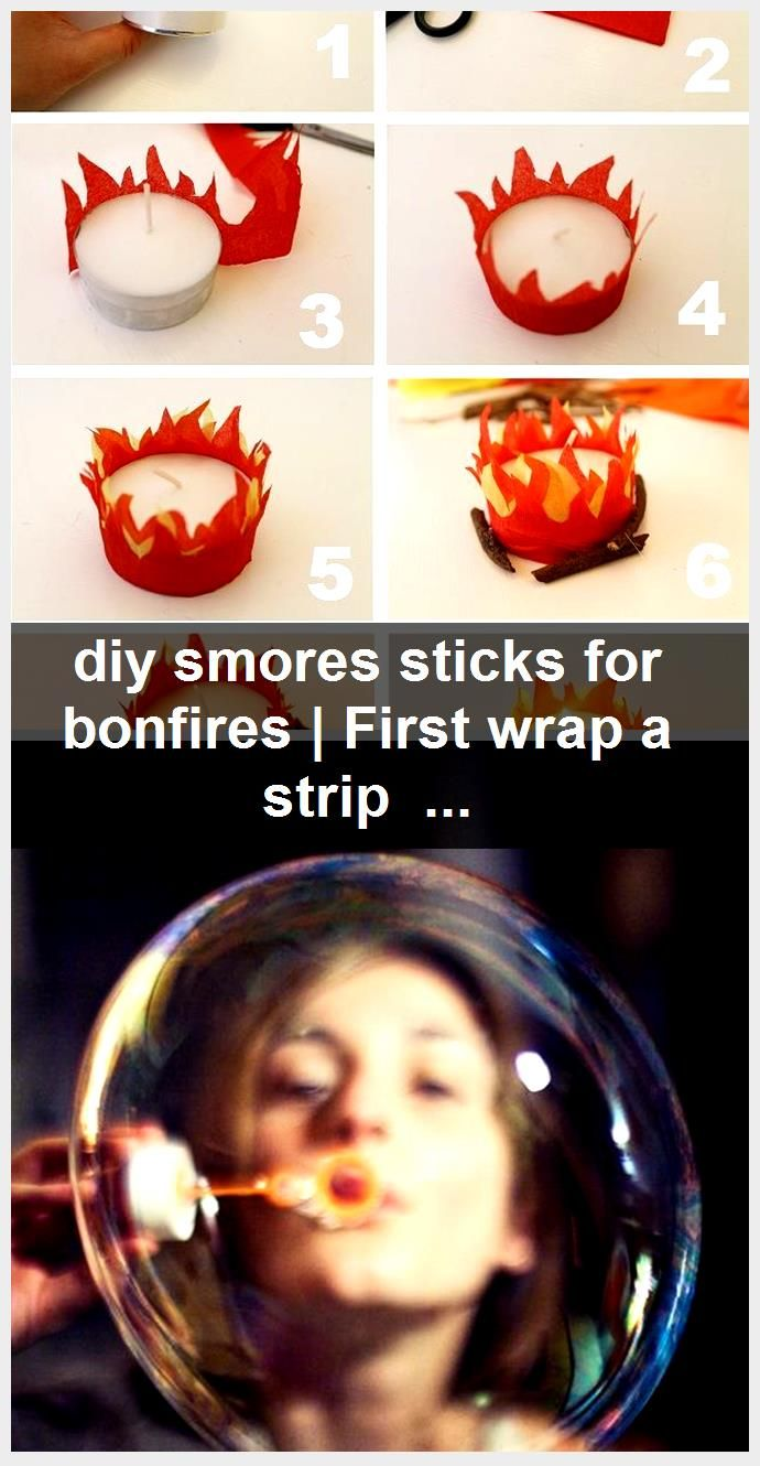diy smores sticks for bonfires | First wrap a strip of double sided tape around ...