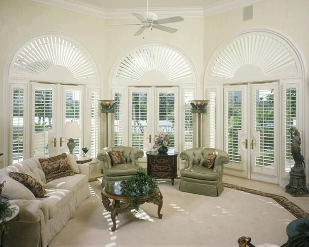 French Empire Living Room In El Cajon Queen Anne American Colonial By Royal Window Coverings Inc Interior Wood Shutters Window Coverings Arched Windows