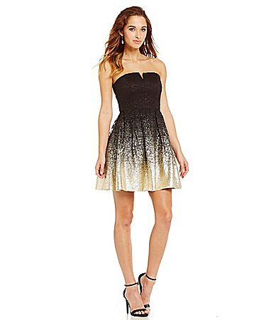 B Darlin Strapless Foil Lace Party Dress #Dillards | Prom/homecoming ...
