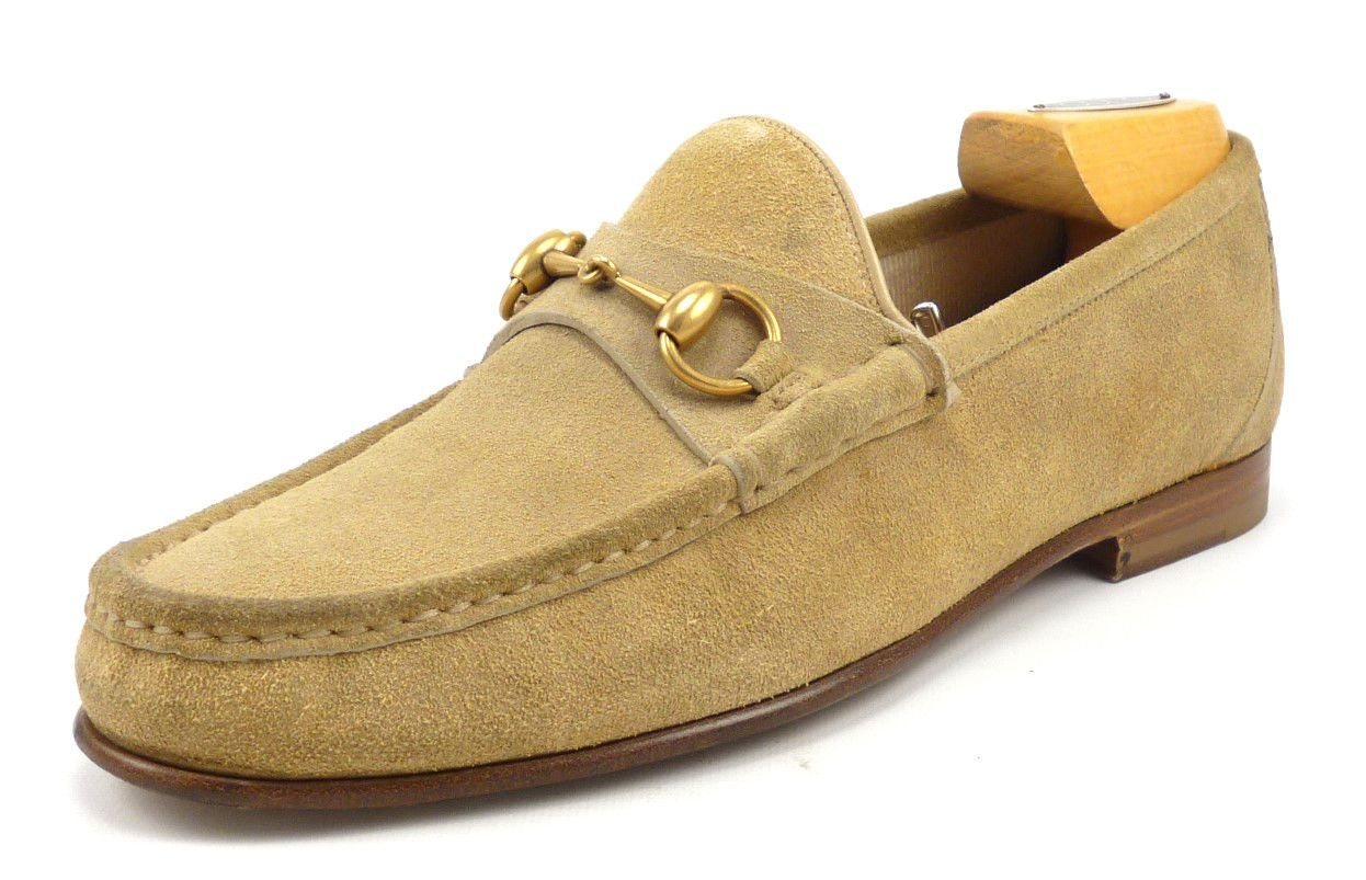 7f2a5d71616 Gucci Mens Shoes 7.5 Labrador Suede Bit 1953 Loafers 307929 Tan ...