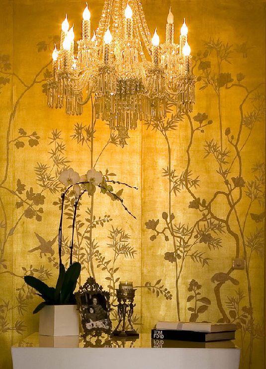 Metallic portobello design on gold gilded silk wallpaper by De ...