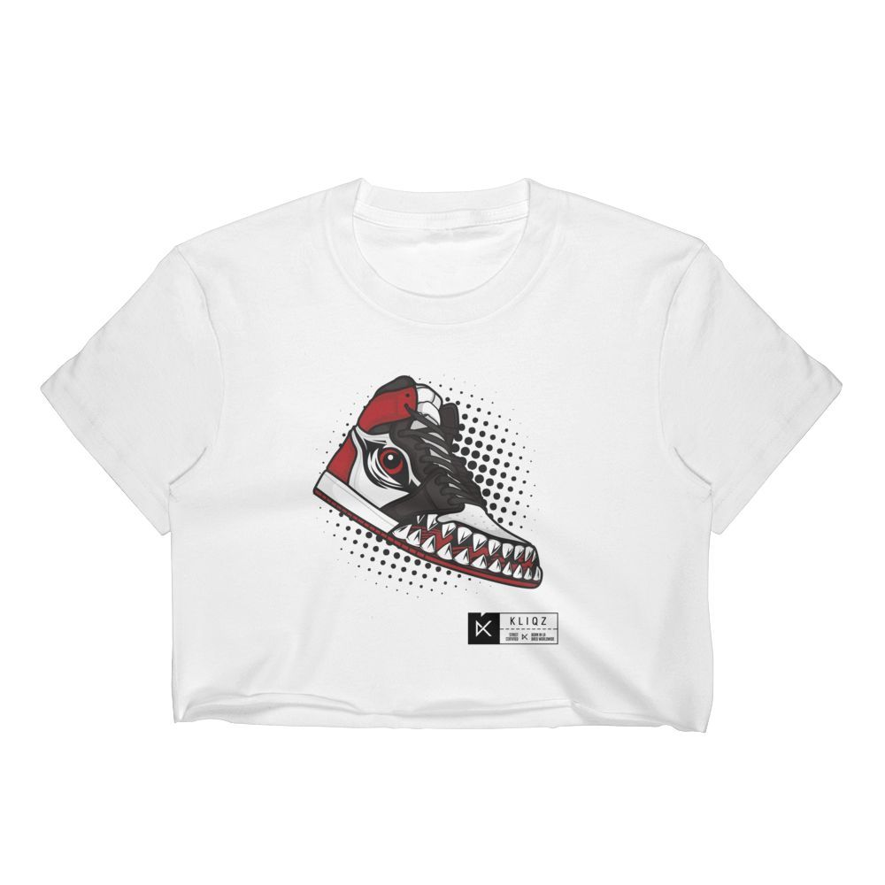 Jay 1 Monster Red Black and White on White Crop Tee