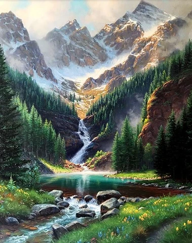 Rocky Mountain Waterfall Landscape Paint By Numbers In 2020 Waterfall Landscape Waterfall Paintings Landscape Paintings