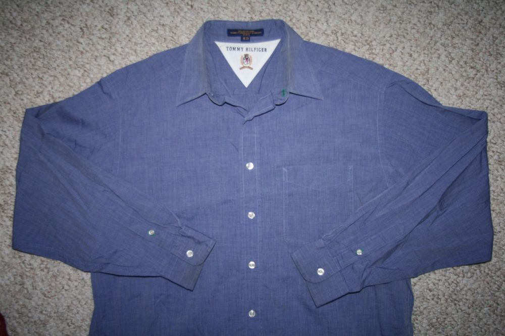 Tommy Hilfiger blue dress shirt 16 35 cotton button up solid large Mens Choice #TommyHilfiger